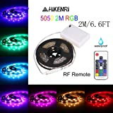 Battery Powered Led Strip Lights,5050 2M/6.6FT IP65 Waterproof Flexible Color Changing RGB LED Light Strip 60 LEDs DC 5VBattery-powered with RF Controller, TV BackLight Background Lighting