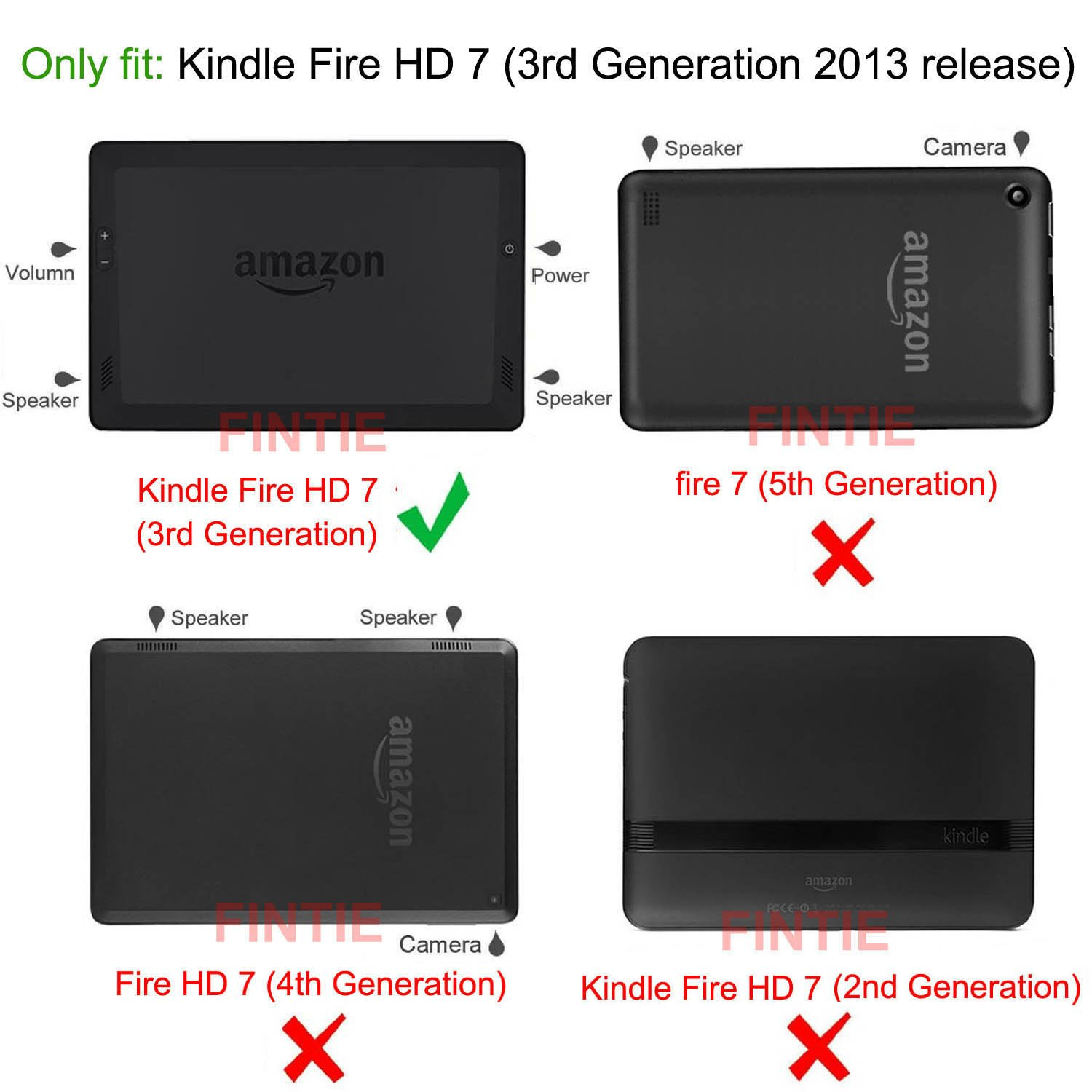Details about For Amazon Kindle Fire HD 7 3rd Generation 2013 Old Model  Folio Case Cover Stand