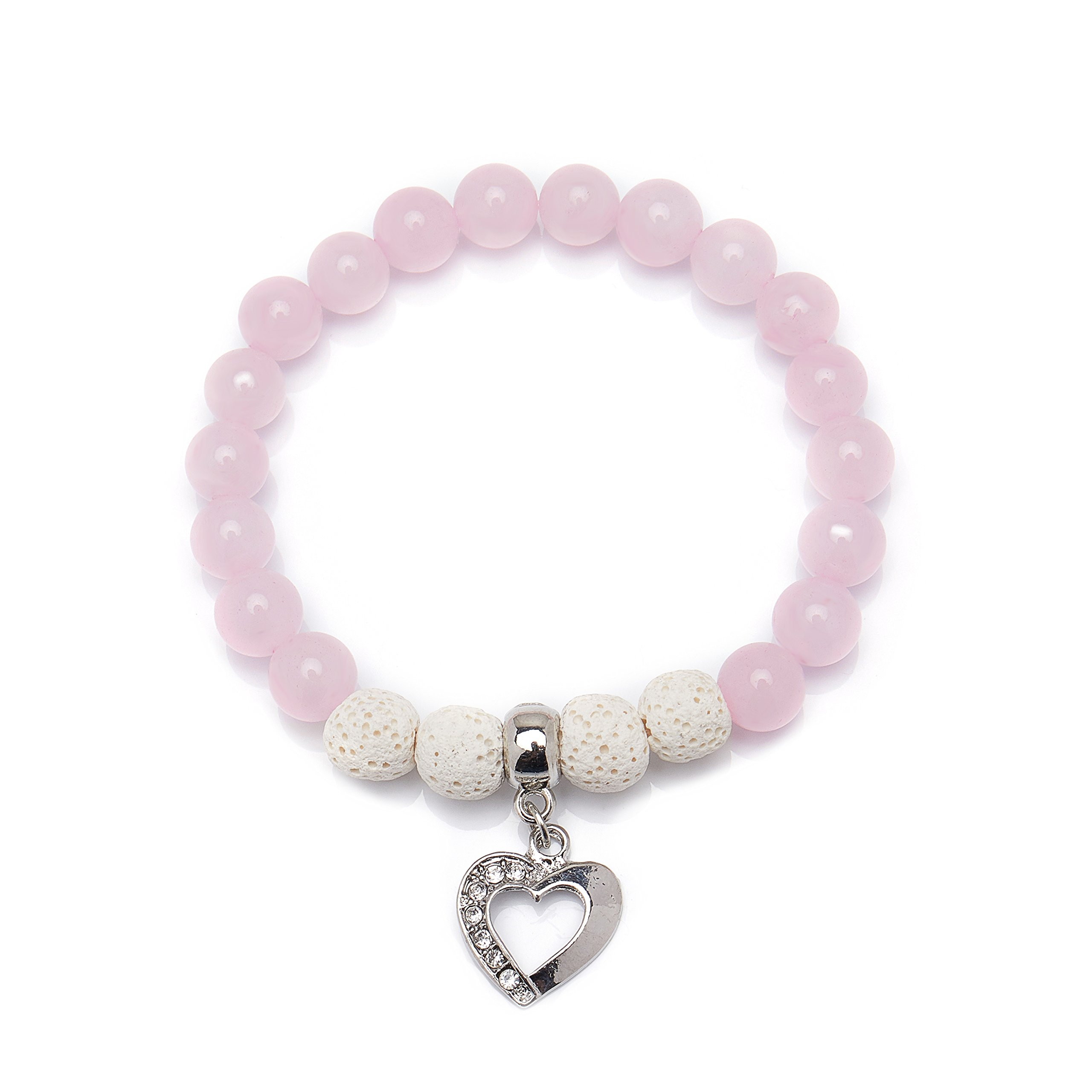 Bivei Lava Rock Stone Essential Oil Diffuser Bracelet Heart Love Women Gemstone Round Beads Crystal Bracelet(Rose Quartz)