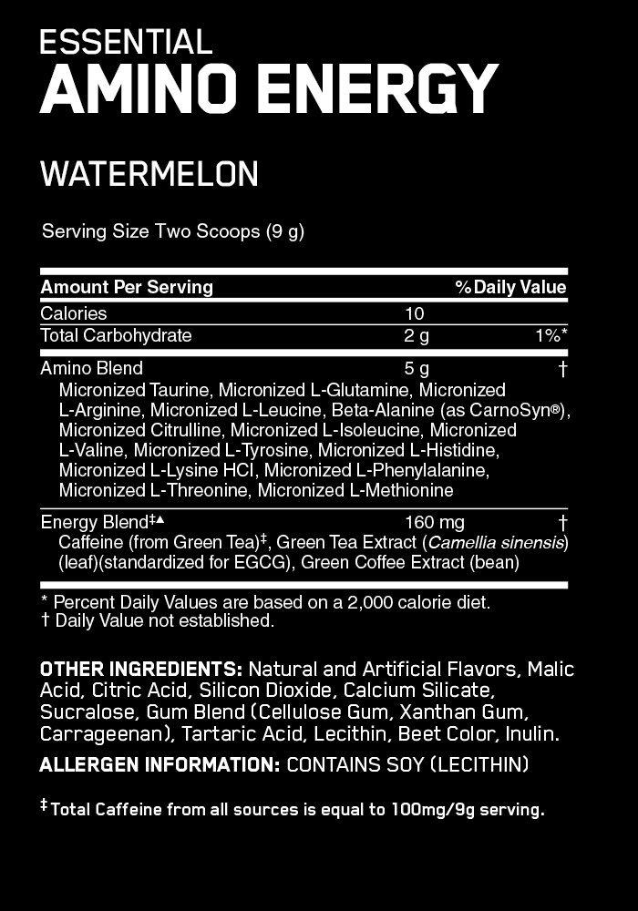 Optimum Nutrition Essential Amino Energy, Watermelon, 65/S, 1.29 lbs (2 Pack)