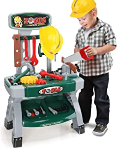 STEAM Life Toddler Workbench Toy Tool Set - Toddler Tool Bench for Kids - Kids Workbench with Toy Gears, Helmet, 58 Pcs - Toy Tools - Kids Tool Set - Toddler Tool Set for Boys Workshop Ages 3 4 5 6 7