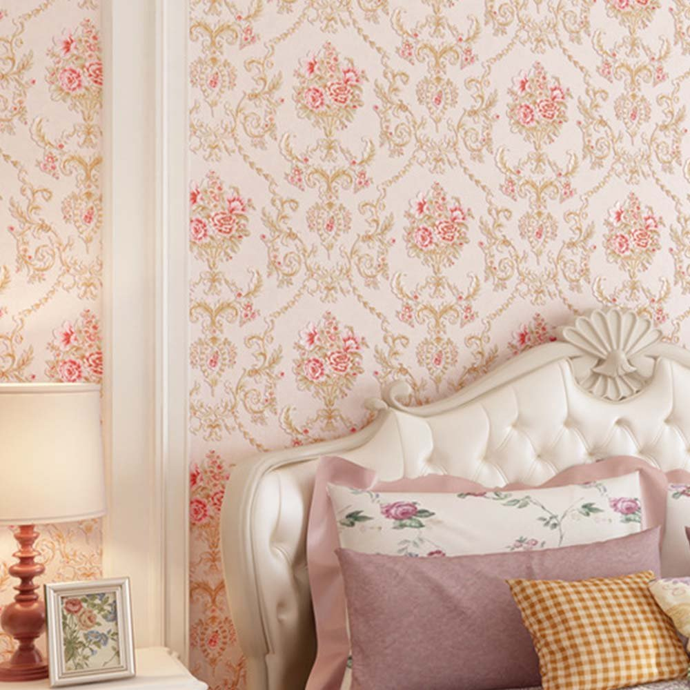 YJZ Girl Room Wallpaper 3D European Style Damask Non-Woven Wallpaper Vintage Luxury Flowers Embossed Textured Home Bedroom Livingroom,Pink by YJZ (Image #4)