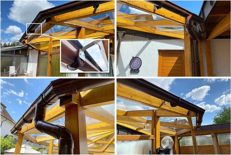Juego completo de canalones para tejados 4 colores RainWay130 Gris PVC, 100 m/²