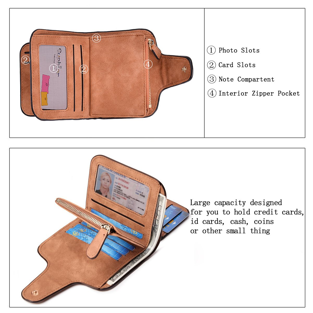 Wallet for Women Leather Clutch Short Purse Ladies Credit Card Holder Organizer with Zip Pocket - Brown by EUGO (Image #2)