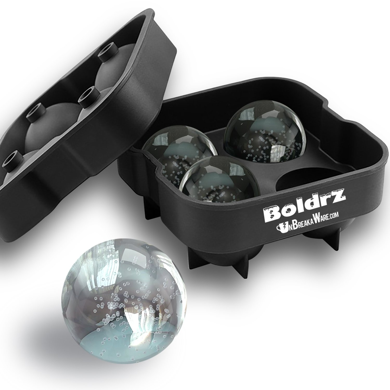 Boldrz Ice Ball Maker Mold - Black Flexible Silicone Tray - Molds 4 X 4.5cm Round Ice Spheres (1 Pack) UnBreakaWare Boldrz V1 4.5