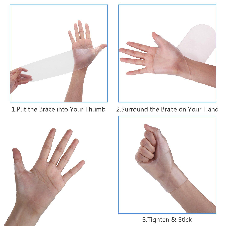 Wrist Brace Carpal Tunnel Gel Wrist Thumb Support Braces Stretchable Washable Thumb Wrist Support Glove for Tenosynovitis, Typing, Wrist Thumb Pain, Arthritis, Rheumatism (1 Pair) by Healthy Harbor (Image #4)