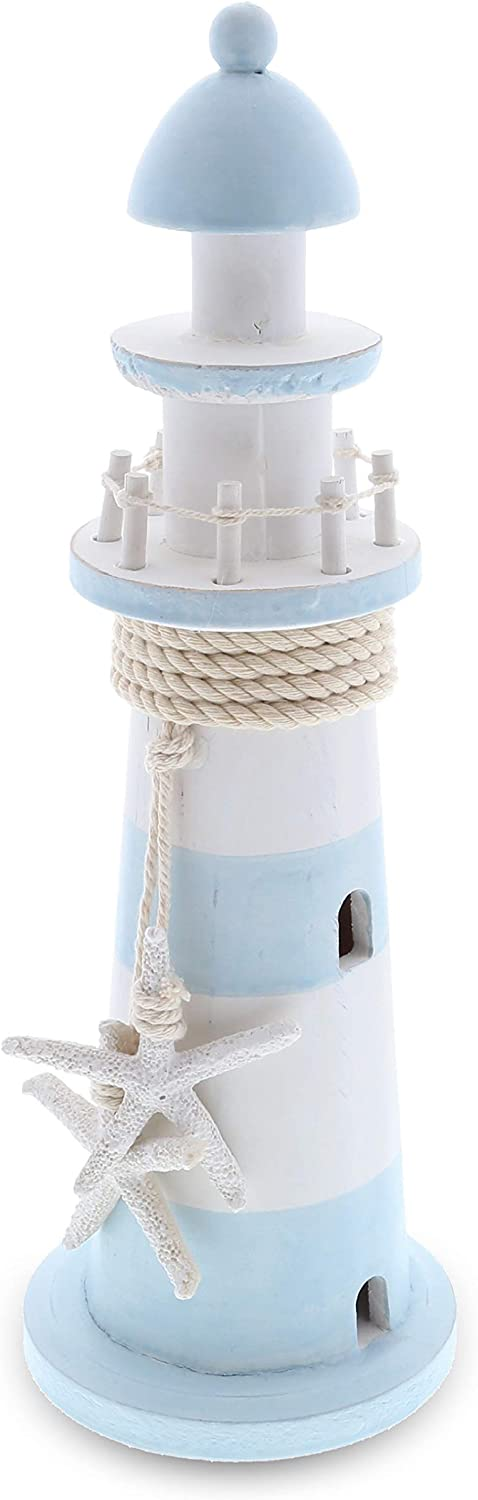CoTa Global Blue Lagoon Wooden Lighthouse 12 Inch, Nautical Decor Light House Decorative Wood Sculptures, Tabletop Party & Home Decor Centerpieces, Miniature Lighthouse Gifts Figurine Collection