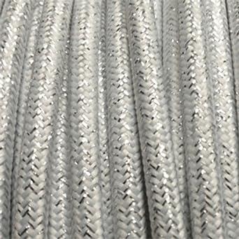 Câble électrique Textile Fil électrique Tissu Blanc Brillant