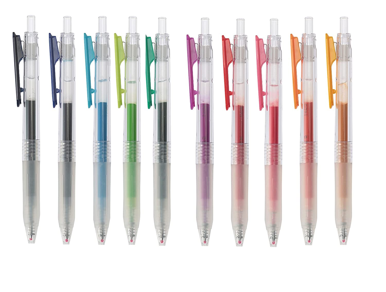 Muji Clear Ballpoint Gel Pen 0.5mm retractable 10 colors SET