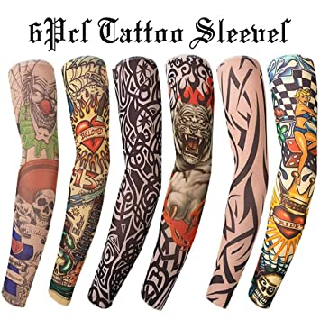 Gospire 6 Pcs Nylon Fake Temporary Tattoo Sleeves Body Art