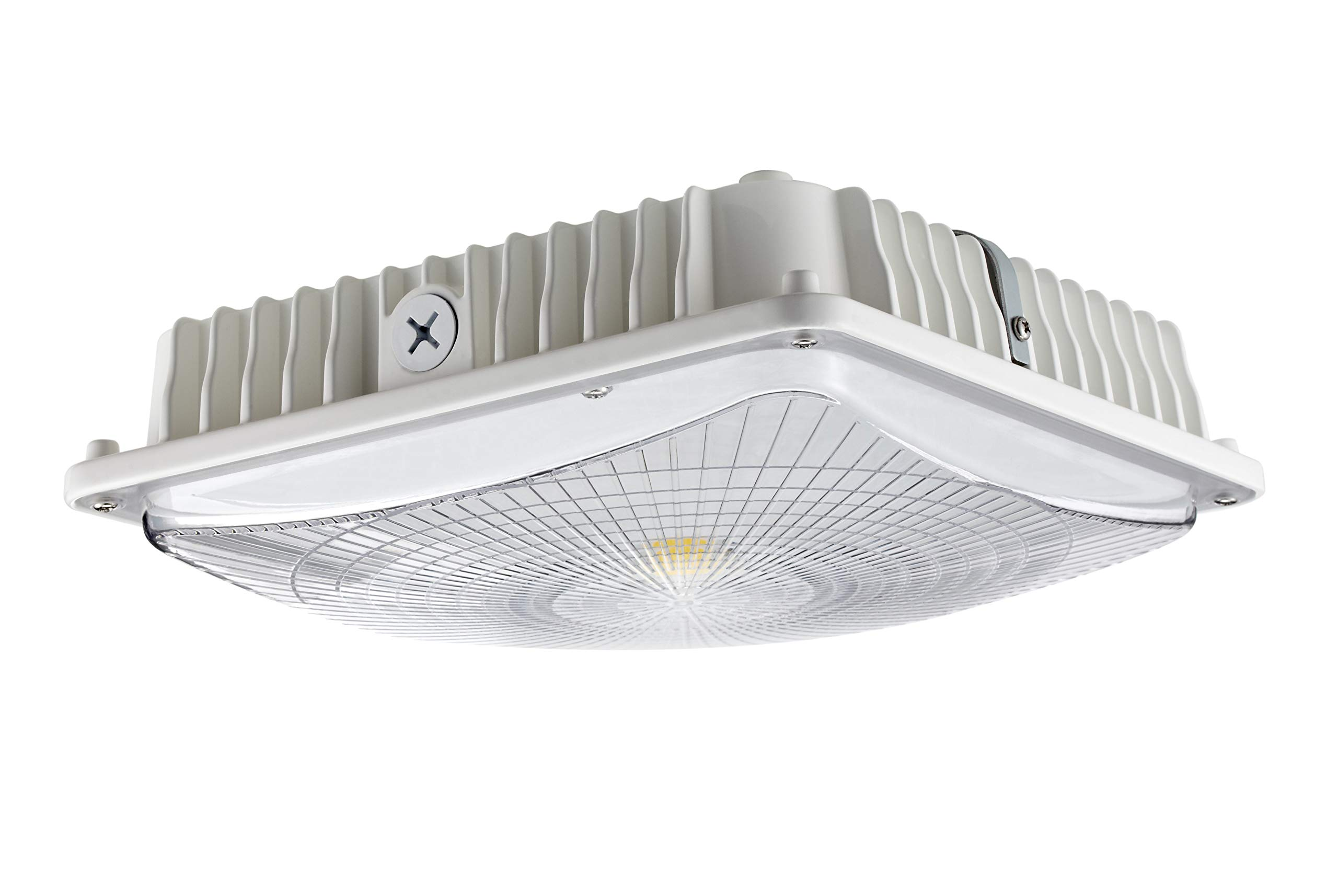 GKOLED 65W White LED Canopy Light, 300-350W MH/HPS/HID Replacement, 5000K Daylight White, 6600Lumen, 120-277VAC, IP65 Waterproof and Outdoor Rated, UL-Listed and DLC-Qualified, 5 Years Warranty