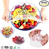 Silicone Bowl Covers, Stretch Food Cover Wraps and Food Stretch Lids Reusable for Environmental ( 4 Pack )