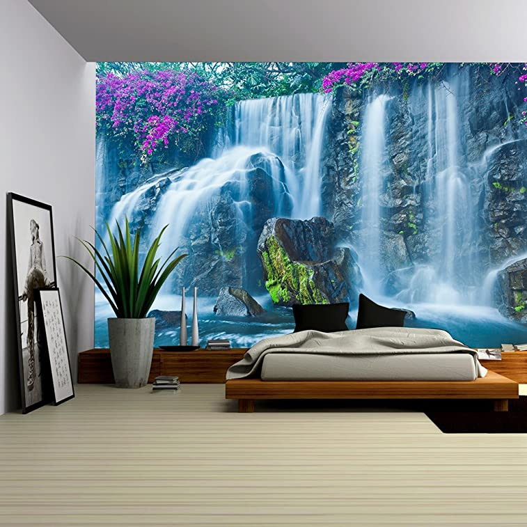 Beautiful Blue Waterfall in Hawaii - Removable Wall Mural