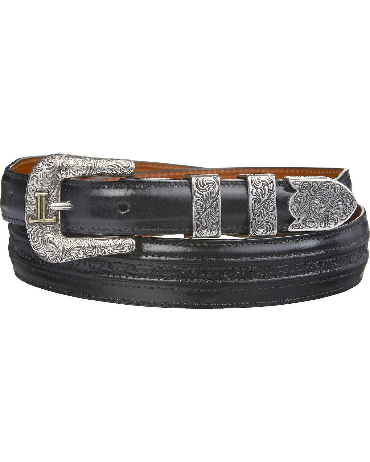 Lucchese Men's Goat With Hobby Stitch Leather Belt Black 36