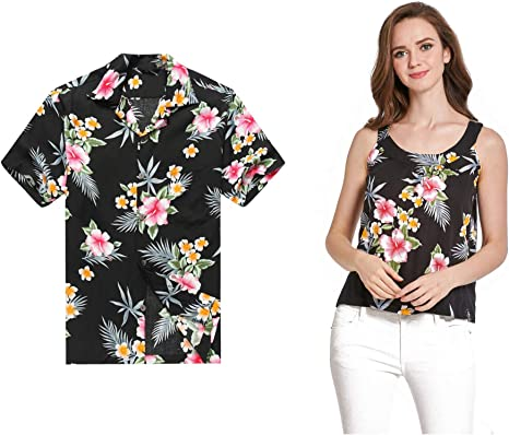 Par a Juego Hawaiian Luau Outfit Aloha Camiseta y Camiseta sin Mangas en Hibisco es 2 Colores