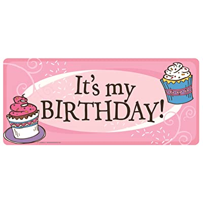 Car Magnet It's My Birthday Pink Cupcake Banner Magnetic Decal for Locker or Fridge,: Automotive