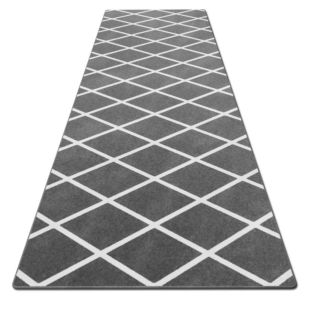 House, Home and More Skid-Resistant Carpet Runner - Diamond Trellis Lattice - Misty Gray & Linen White - 6 Feet X 26 Inches by House, Home and More