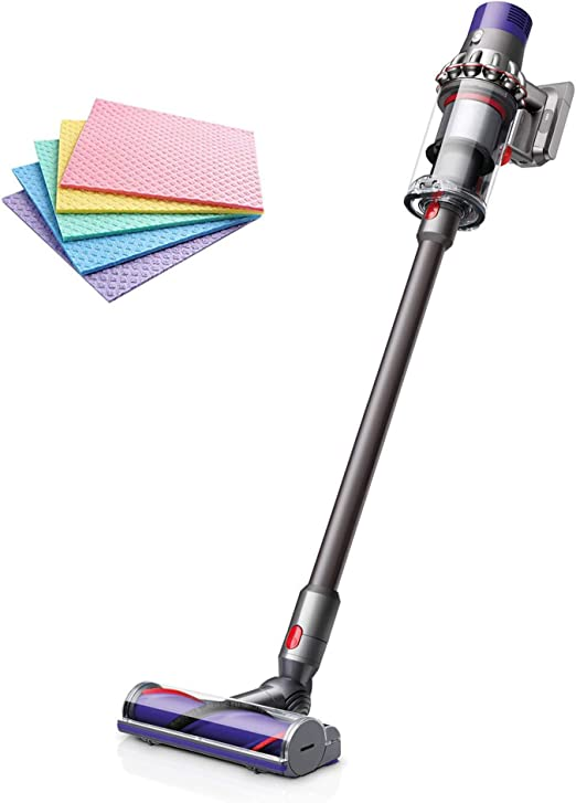 (RENEWED) Dyson V10 Total Clean Cordless Vacuum Cleaner Powered by The Dyson Digital Motor V10 14 Cyclones Fade-Free Power Whole-Machine Filtration Acoustically Engineered (Iron) + iCarp Sponge Cloth