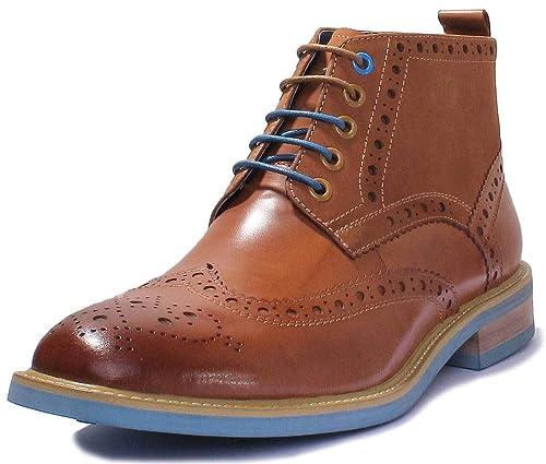 fec79459fc9712 Justin Reece Mens Coloured Sole Lace up Brogue Boots  Amazon.co.uk ...