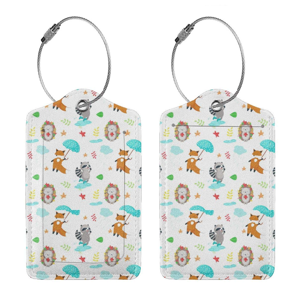 Cute-animals-fox-hedgehog-raccoon Leather Luggage Tags Personalized Flexible Custom Travel Tags With Privacy Flap
