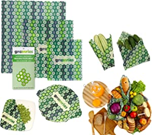 Greenries – Beeswax Food Wraps – Assorted Set of 3 – No Synthetic Wax or Chemicals – Holds for Up to a Year – Sustainable and Reusable Beeswax Food Wraps with Jojoba Oil – 3 Sizes (S, M, L)