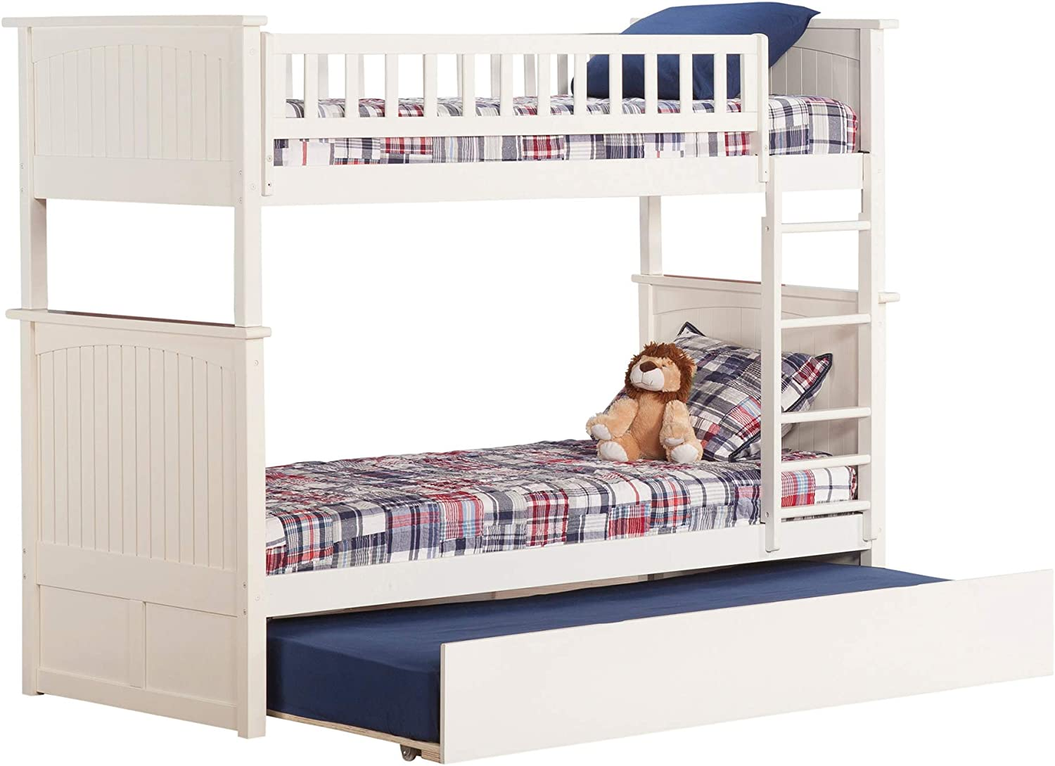 Atlantic Furniture Nantucket Bunk Bed Full Over Full with Twin Size Urban Trundle Bed in Walnut White/Twin Over Twin