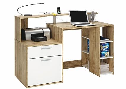 7075c67f55826 Escritorio Mesa de Ordenador Multimedia 140cm. Roble y Blanco