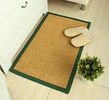 Charmant Sisal Doormat With Green Border, Natural Mat With Anti Slip Bottom, 50 X