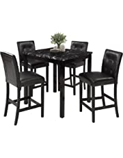 9f0caa7967 LZ LEISURE ZONE 5-Piece Kitchen Table Set Marble Veneer Top Counter Height Dining  Table
