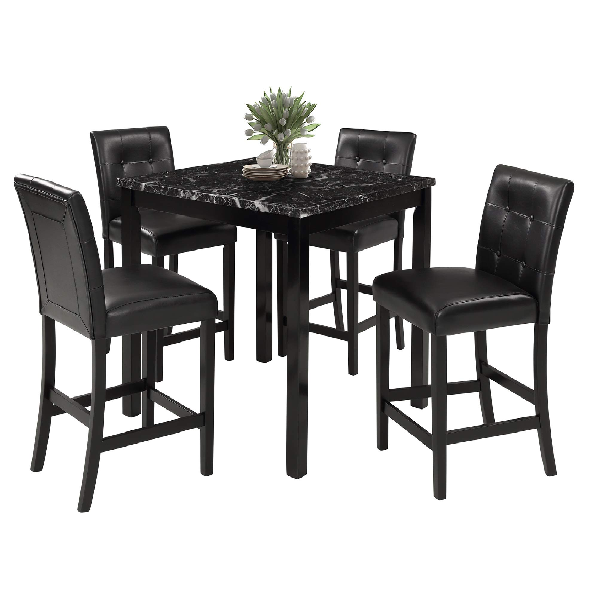 LZ LEISURE ZONE 5-Piece Kitchen Table Set Marble Top Counter Height Dining Table Set with 4 Leather-Upholstered Chairs (Marble)