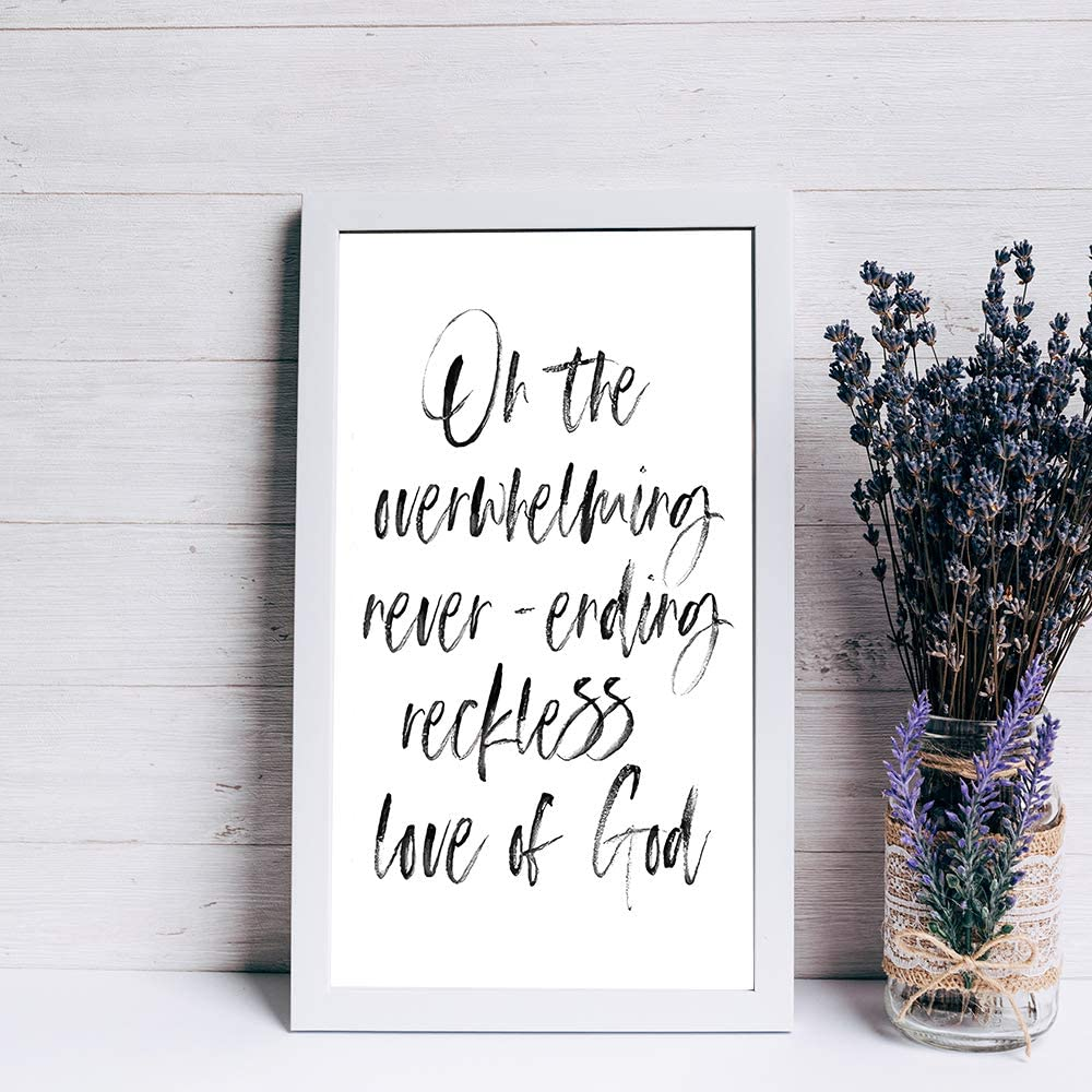 BYRON HOYLE Oh The Overwhelming Neverending Reckless Love of god Wood Sign Bible Verse Farmhouse Decor Christian Wall Decor Art Scripture Home Decor Wall Hanger Best Gift