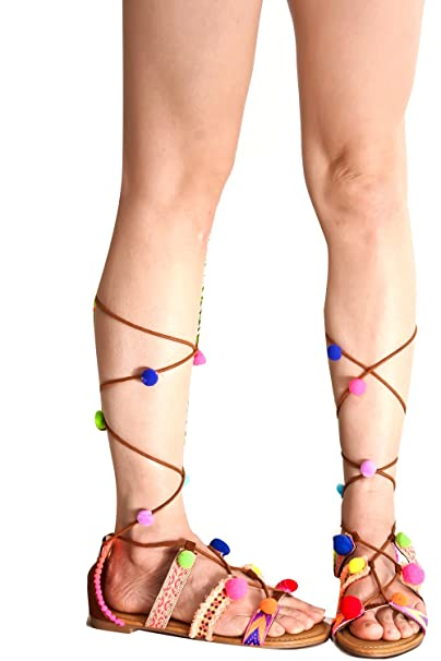9cefeed0fd19 Amazon.com  Lolli Couture Forever Link Open Toe Multi Elastic Strap Design  Side Zipper Lace Casual Knee High Gladiator Sandals  Shoes