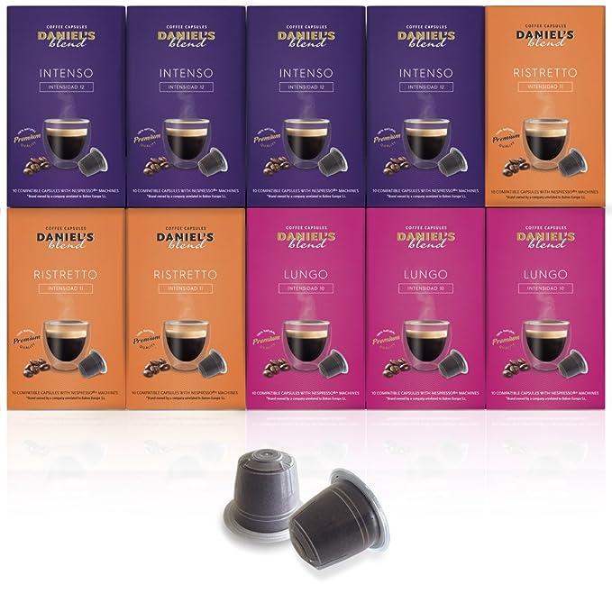 DANIELS BLEND - 100 Cápsulas de Café Compatibles con Máquinas Nespresso - MIX INTENSO