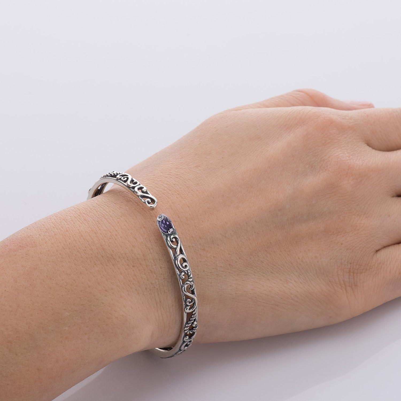 Carolyn Pollack Sterling Silver Purple Amethyst or Green Peridot Gemstone Filigree Hinged Bracelet Size S, M or L