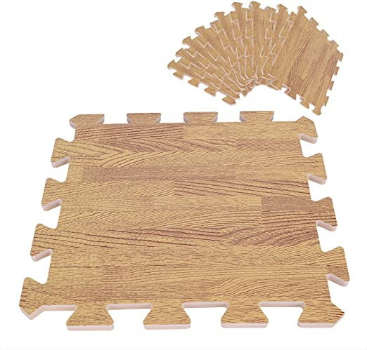 9Pcs Foam Floor Mats Imitation Wood Soft Yoga Mats Gym Exercise Home US