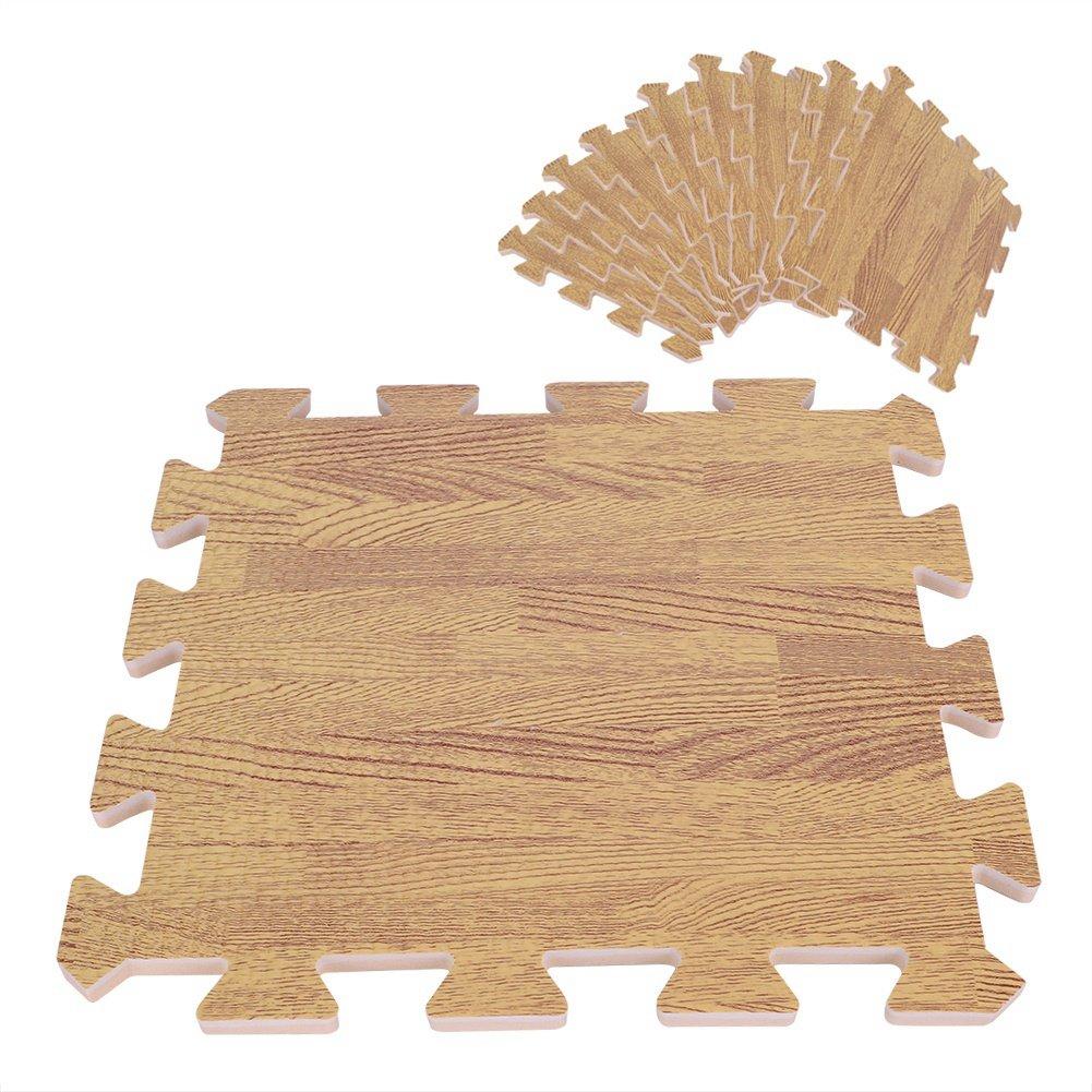 9 Pcs 30X30cm Imprimé Bois Grain mousse de verrouillage Trois couleurs EVA mousse tapis de sol Puzzle ( Color : Light Brown ) Yosoo