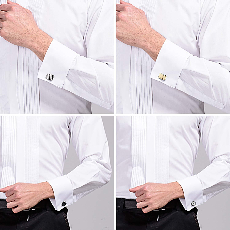 YADOCA Pince /à Cravate et Boutons de Manchette fix/és pour Les Hommes Cravate Pince /à Cravate Pinces Chemises Chemises Tuxedo Cadeau de Mariage avec bo/îte Argent-Tone Dor/é-Noir