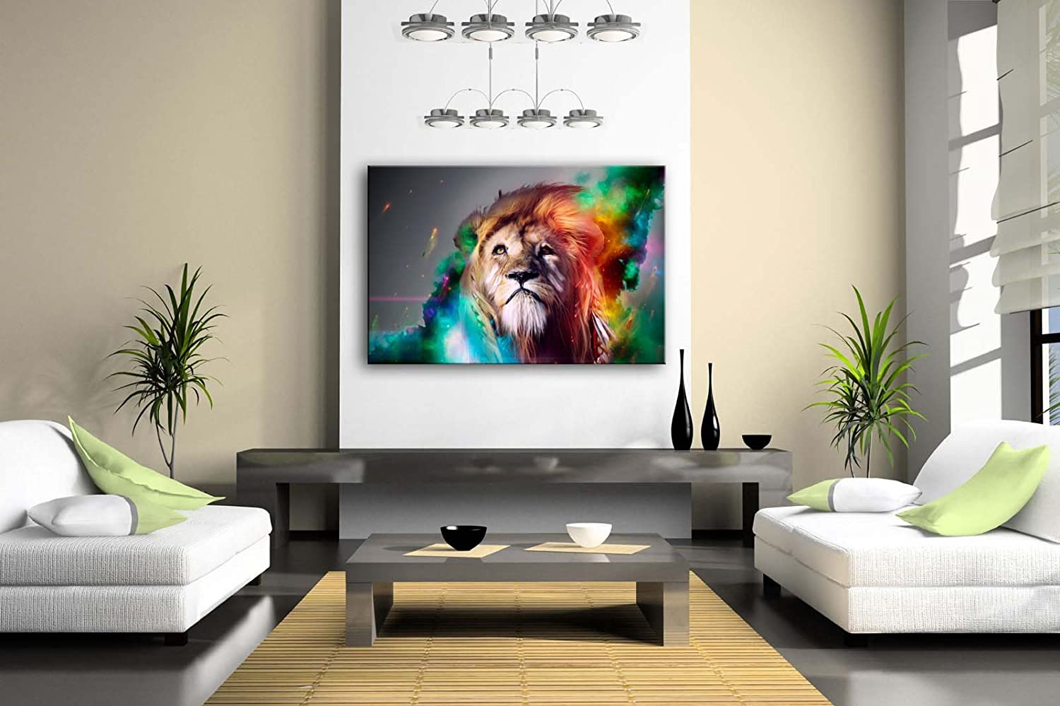 Amazon.com: Colorful Lion Artistic Wall Art Painting The Picture ...