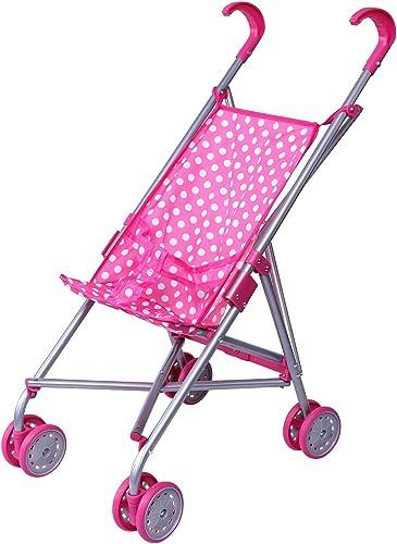Precious Toys Umbrella Doll Stroller pink with white polka dots