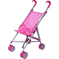 Precious Toys 0127B Pink & White Polka Dots Foldable Doll Stroller with Swivel Wheels