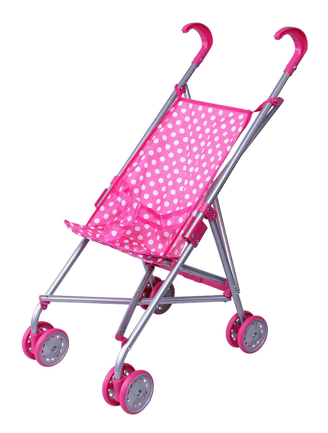 Precious toys Pink & White Polka Dots Foldable Doll Stroller with swivel wheels Homeco PT0127B