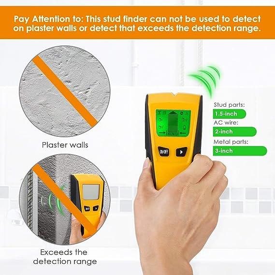 INTEY Detector de Pared con Pantalla LCD para Detecta AC Cable, Azulejos, Metal Tuberías Madera y AC Cable: Amazon.es: Bricolaje y herramientas