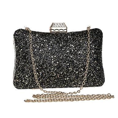 a69d04a4eed KERVINJESSIE Women s Sequin Evening Bag Ladies Banquet Dress Wedding Clutch Purse  Handbag (Color   Black