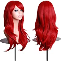 EmaxDesign Wigs 28 inch Wavy Curly Cosplay Wig With Free Wig Cap and Comb (Red)