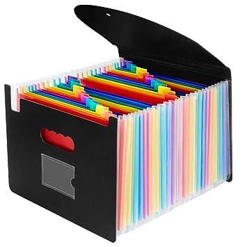 OffiConsent Trieur Document A4 Extensible 24 Compartiments Porte Accordeon Fichier Wallet Boite De Classement