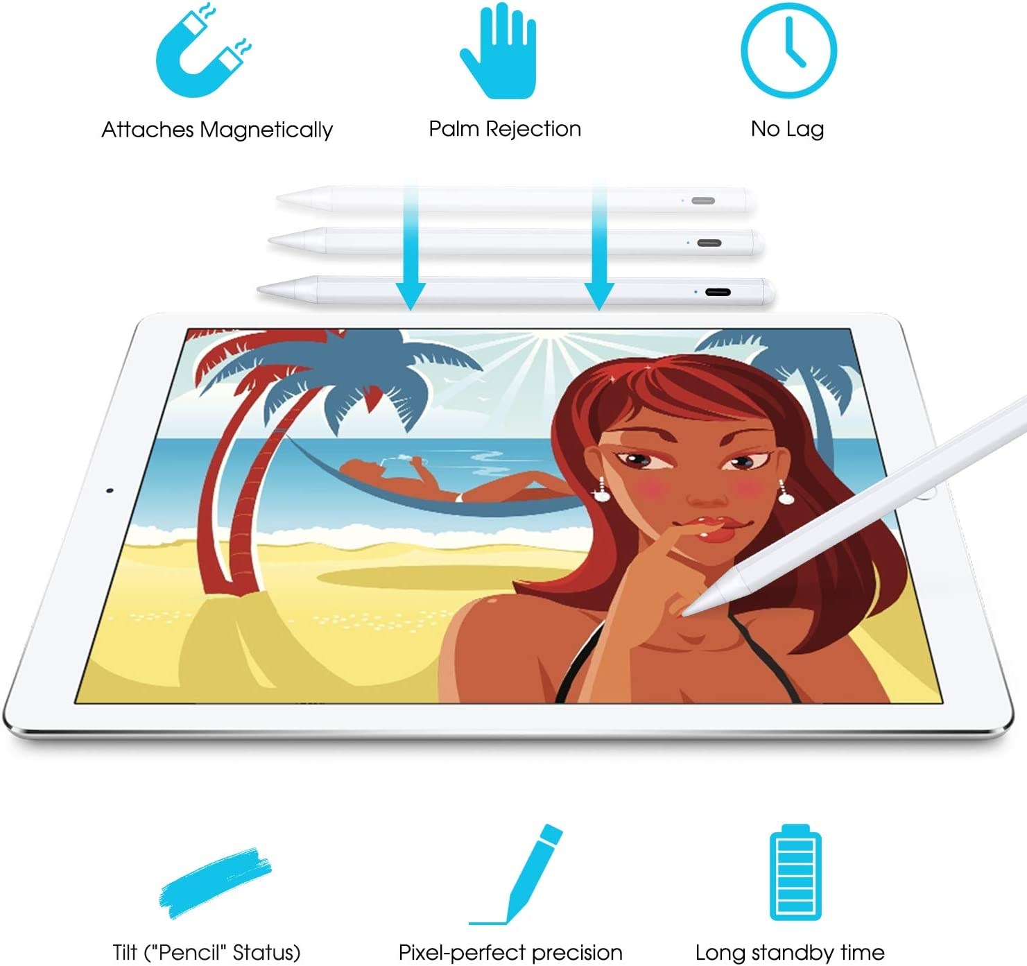 """Stylus Pen Compatible with Apple iPad, iPad Pencil with No Lag, High Precision, Tilt, Palm Rejection, for iPad 6th, iPad Mini 5th, iPad Air 3rd Gen, iPad Pro (11/12.9""""): Electronics"""