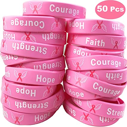 Awareness bracelet breast cancer hope ribbon courage