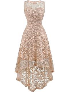 3a65f64b558 FAIRY COUPLE Women s Halter Hi-Lo Floral Lace Cocktail Party Bridesmaid  Dress