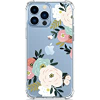 GVIEWIN Case Compatible with iPhone 13 Pro 6.1 Inch 2021, Clear Floral TPU Bumper Soft Cover Shockproof Protective Women…