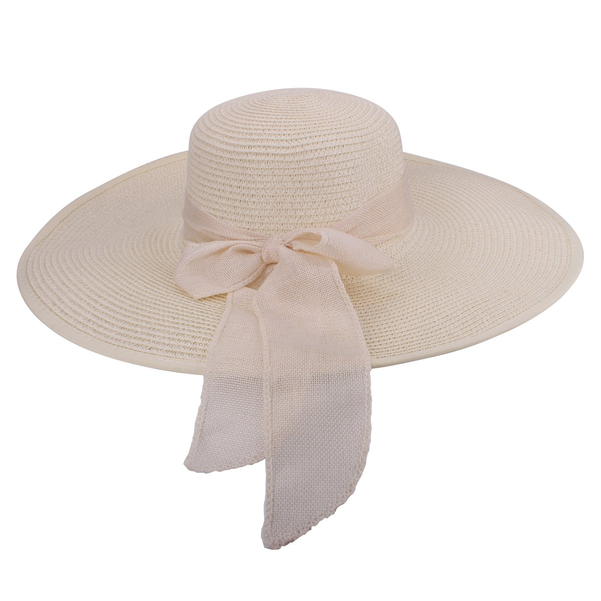 Summer Sun Hat UPF 50+ Beach Straw Hat UBowknot Casual Foldable Beach Caps for Women Girls Travel Packable with Chin Strap (White)